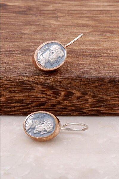 Kadın Antik Para Tasarımlı El İşi Gümüş Küpe 2597