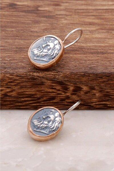 Kadın Antik Para Tasarımlı El İşi Gümüş Küpe 2596