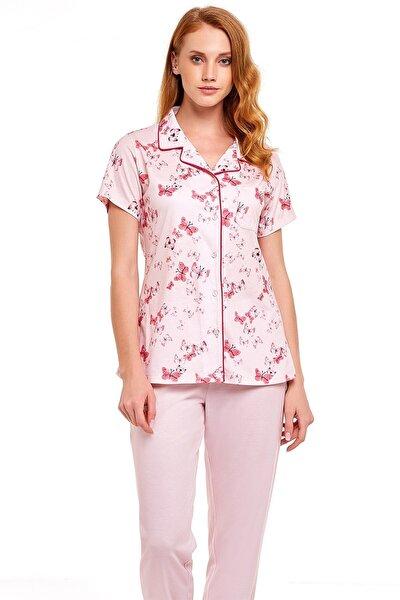 Kadın Pembe Butterfly Önden Düğmeli Pijama Takımı