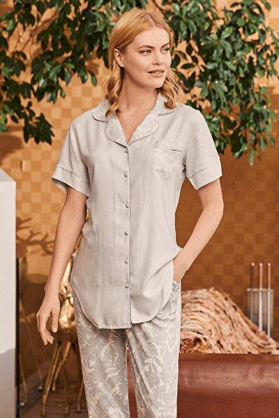 Kadın Carina Mavi Önden Düğmeli Pijama Takımı