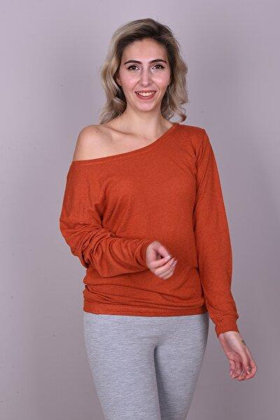 Kadın Turuncu Renkli Düşük Omuz Uzun Kollu Bluz
