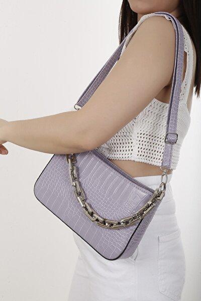 Kadın Lila Zincirli Baget Çanta