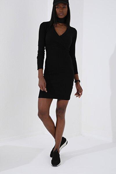 Kruvaze Yaka Siyah Kadın Kaşkorse Elbise