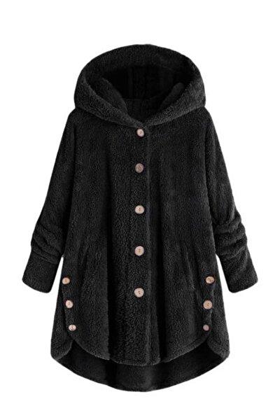 Kadın Düğme Detay Kapşonlu Wellsoft Ceket
