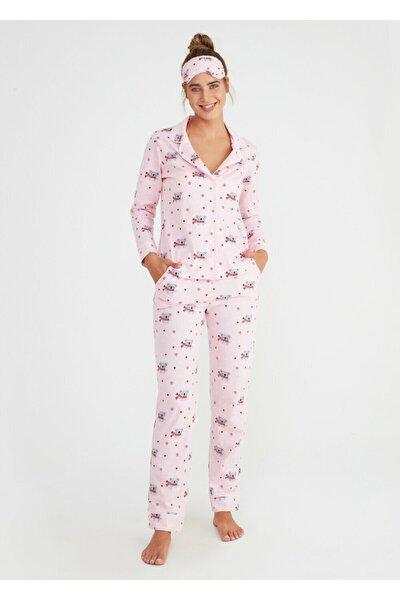 Kadın Pembe Koalina Maskulen Pijama Takımı