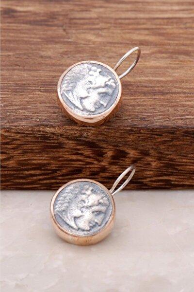 Kadın Antik Para Tasarımlı Elişi Gümüş Tasarım Küpe 2598