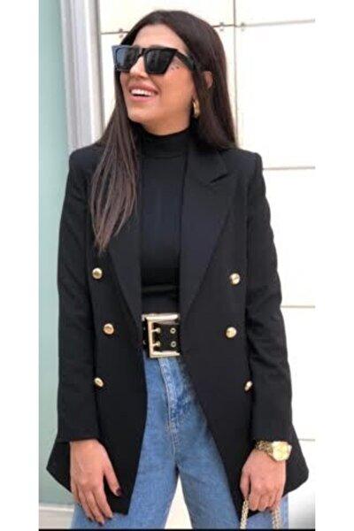Kadın Siyah Uzun Klasik Ceket