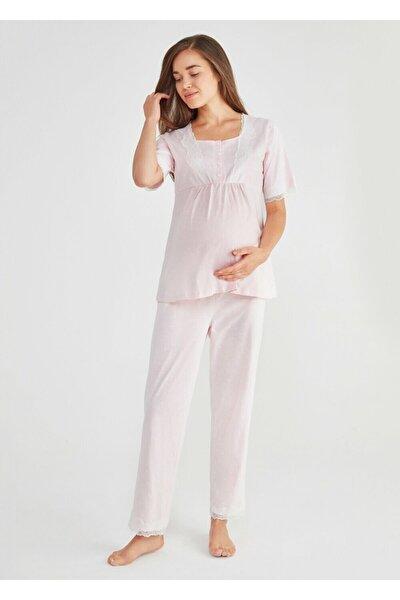 Kadın Pembe Baskılı Lily Hamile Lohusa Pijama Takımı