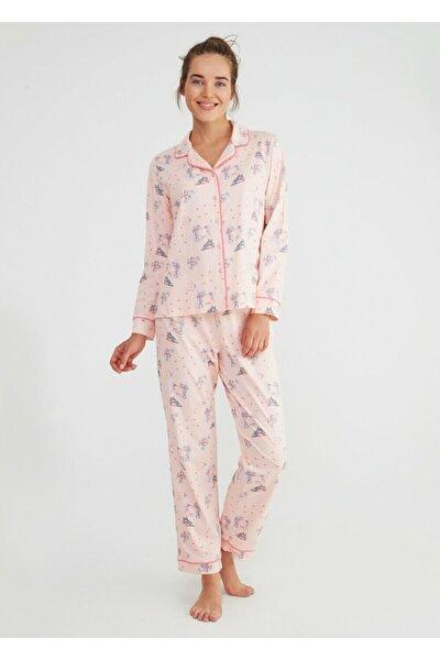 Kadın Pembe Baskılı Hug Me Maskulen Pijama Takımı