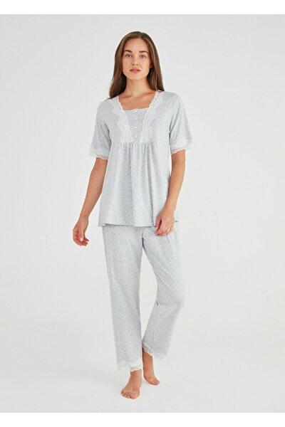 Kadın Gri Baskılı Lily Hamile Lohusa Pijama Takımı