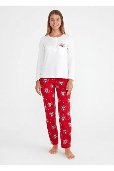Kadın Kırmızı Baskılı Koalina Pijama Takımı