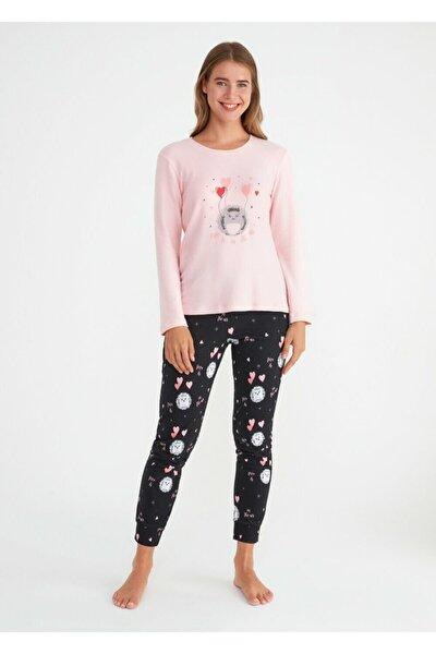 Kadın Siyah Baskılı Mina A Pijama Takımı