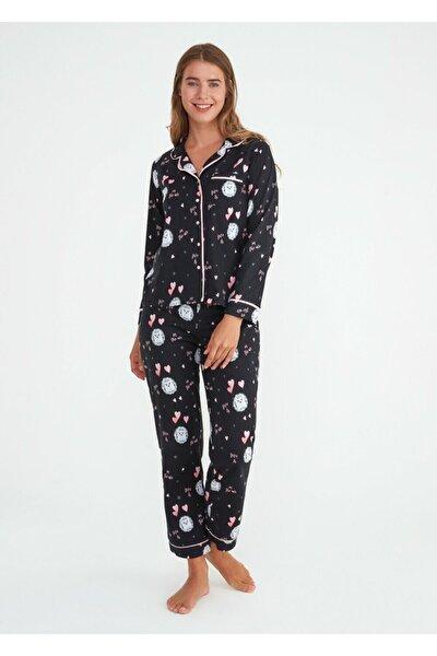 Kadın Siyah Baskılı Mina Maskulen Pijama Takımı
