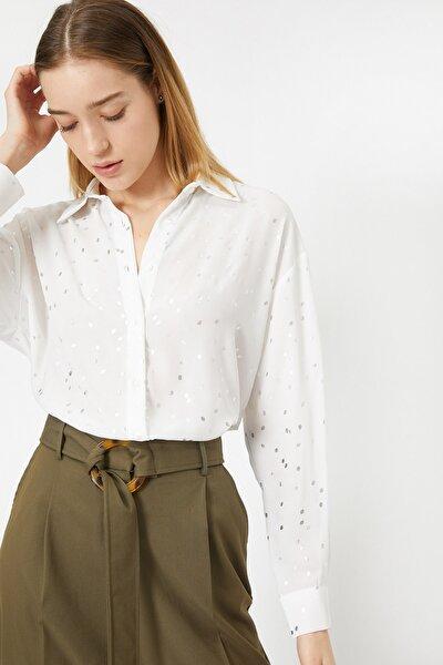 Kadın Gri Tül Detayli Puantiye Desenli Sifon Gömlek