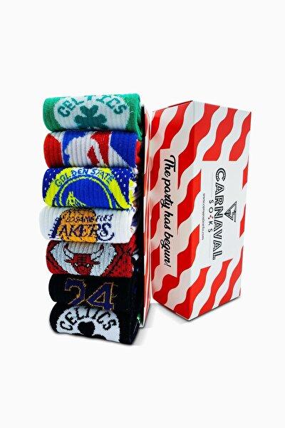 7'li Nba Basketball Team Atletik Renkli Spor Çorap Set