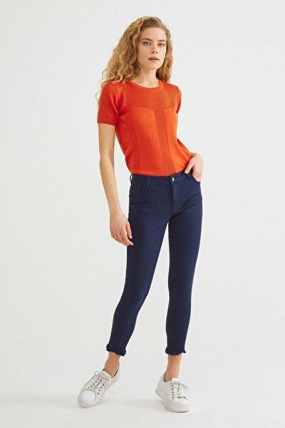Kadın Lacivert Paça Detaylı Pantolon 15336759001018
