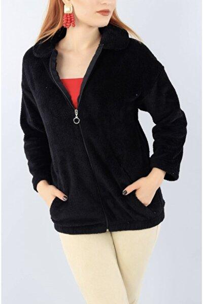 Kadın Siyah Gömlek Yaka Fermuarlı Uzun Peluş Hırka