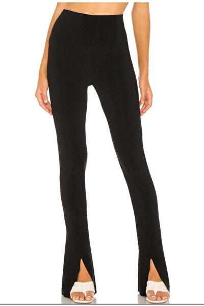 Kadın Siyah Yırtmaçlı Pantolon