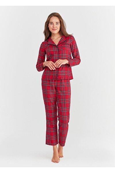 Kadın Kırmızı Adelina Maskulen Pijama Takımı