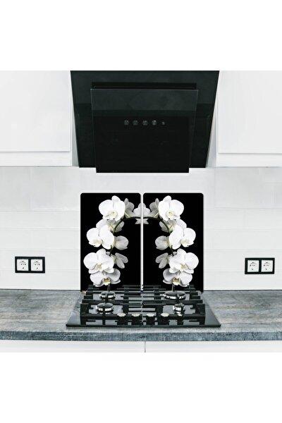 Cam Ocak Koruyucu Ve Kesim Tablası Beyaz Orkide (60cm X 52cm) 2 Parça, 4'lü Ocaklar