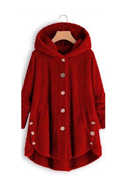 Kadın Kırmızı Düğme Detay Kapşonlu Wellsoft Ceket