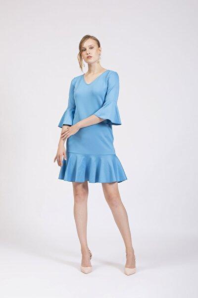 Kadın Mavi V Yakalı Kolları Ve Eteği Volanlı Elbise