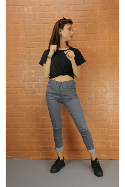 Kadın Gri Kot Pantolon