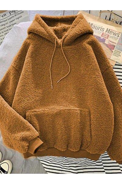 Kadın Taba Kangru Cepli Kapüşonlu Peluş Sweatshirt