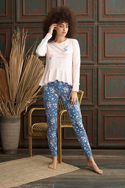 Kadın Pembe Fırfırlı Pijama Takım