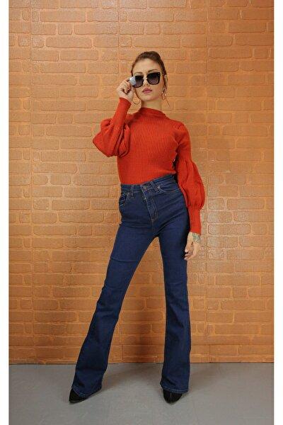 Kadın Koyu Mavi Dokulu Ispanyol Paça Pantolon