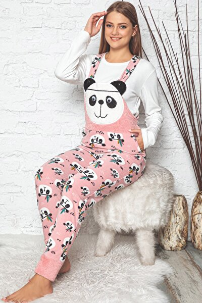 Kadın Pembe Panda Desenli Kadın Bahçıvan Polar Peluş Tulum Pijama Takımı