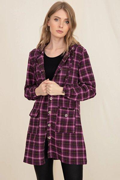 Kadın Mor Ekose Kapüşonlu Cepli Oduncu Ceket Gömlek