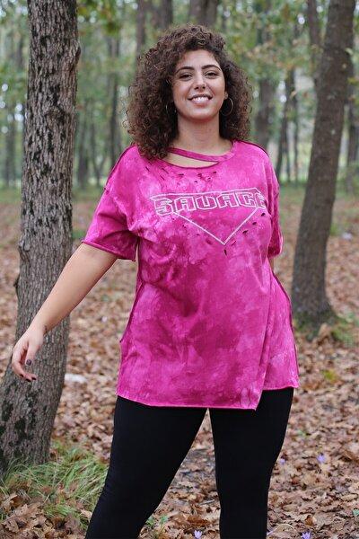 Kadın Fuşya Taşlı Tshirt