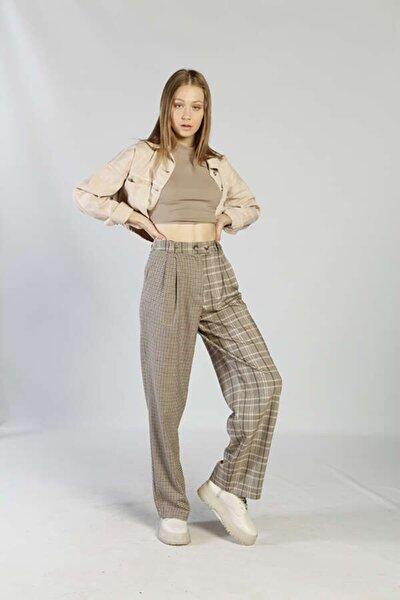 Kadın Bej Plaid Pantolon Pantolon