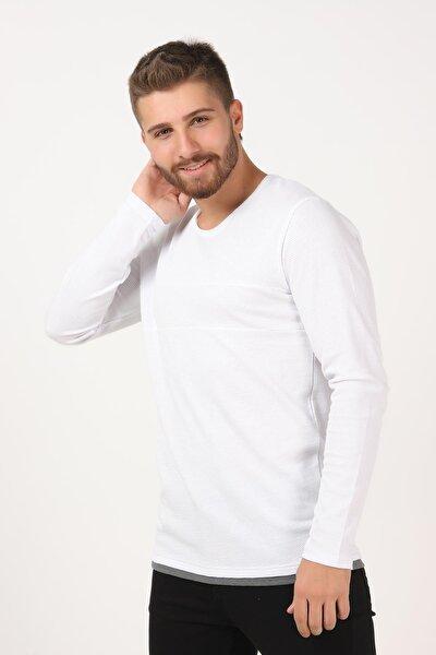Erkek Beyaz Bis Yaka Petek Örgü Altı Parçalı Sweatshirt