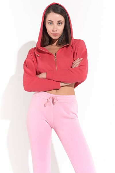 Kadın Pembe Önü Fermuarlı Kapüşonlu Sweatshirt