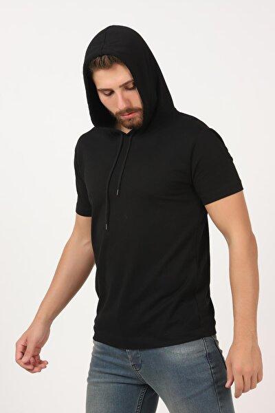 Erkek Siyah Kısa Kollu Kapşonlu Basic Tişört