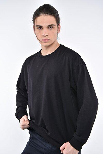 Erkek Siyah Bisiklet Yaka Oversize Sweatshirt