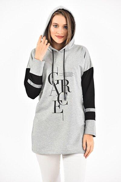 Kadın Gri Grace Baskılı Kol Detaylı Kapüşonlu Sweatshirt