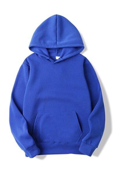 Kadın Lacivert Kanguru Cepli Kapşonlu Sweatshirt