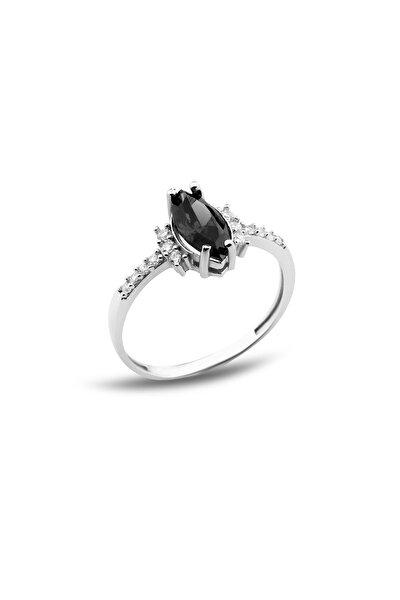 Mekik Zirkon Taşlı Siyah Gümüş Bayan Yüzüğü