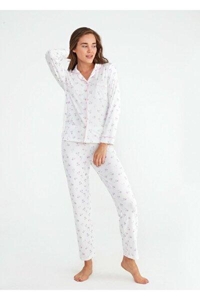 Kadın Ekru Young Mother Maskulen Pijama Takımı