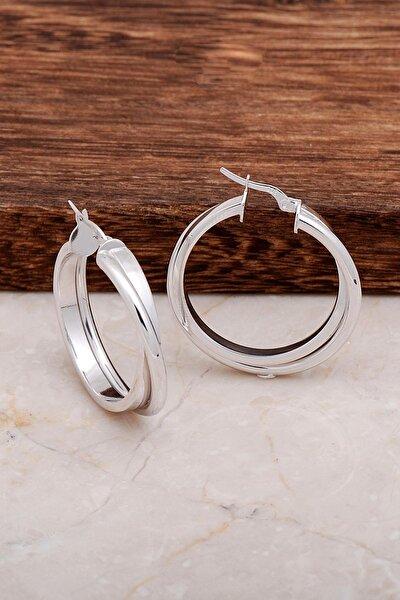 Kadın Rodyumlu Gümüş Tasarım Halka Küpe 4680