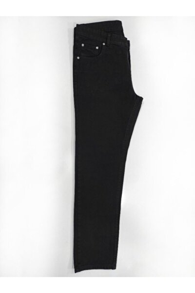 Erkek Siyah Geniş Paça Kot Pantolon