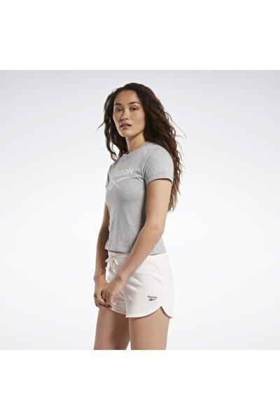 Kadın Gri Te Texture Logo Tişört