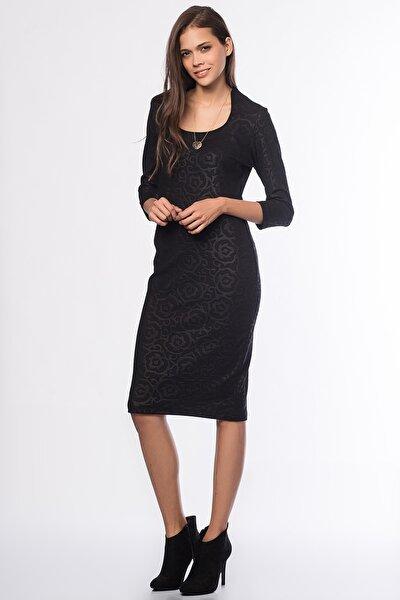 Kadın Siyah Kabartmalı Deri Detaylı Elbise 17L5159