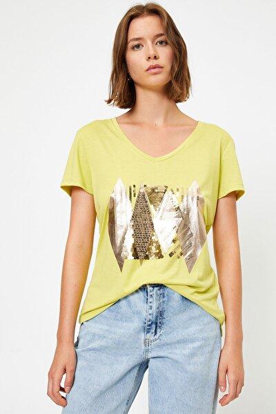 Kadın Yeşil T-Shirt 0YAK13177EK