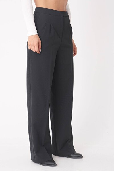 Kadın Siyah Cep Detaylı Bol Pantolon PN8058 - W5 ADX-0000023058