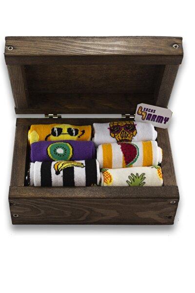 Unisex Meyve Desenli 6'lı Ahşap Kutu Renkli Çorap Seti