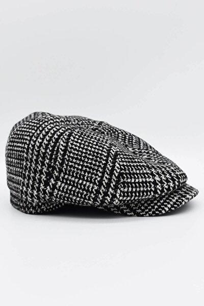 Erkek Siyah Ekoseli Yünlü Kasket Şapka